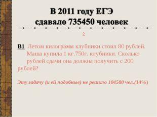 В1 Летом килограмм клубники стоил 80 рублей. Маша купила 1 кг.750г. клубники.