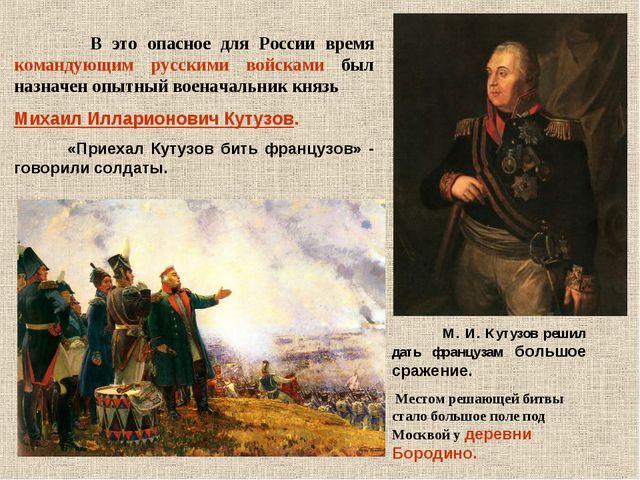 В это опасное для России время командующим русскими войсками был назначен оп...