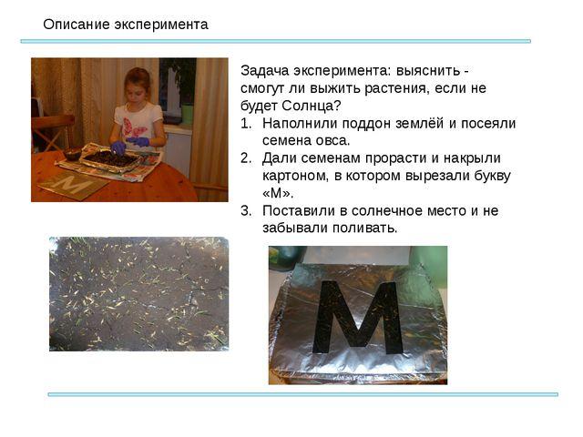 Описание эксперимента Задача эксперимента: выяснить - смогут ли выжить расте...