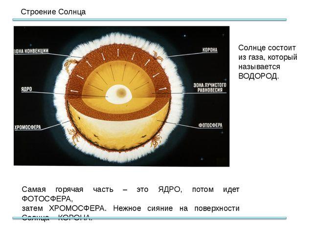 Строение Солнца Самая горячая часть – это ЯДРО, потом идет ФОТОСФЕРА, затем Х...
