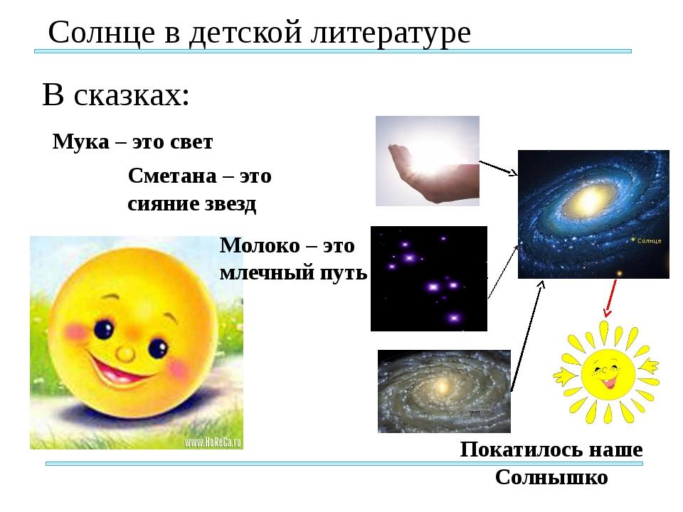 Солнце в детской литературе В сказках: Мука – это свет Молоко – это млечный...