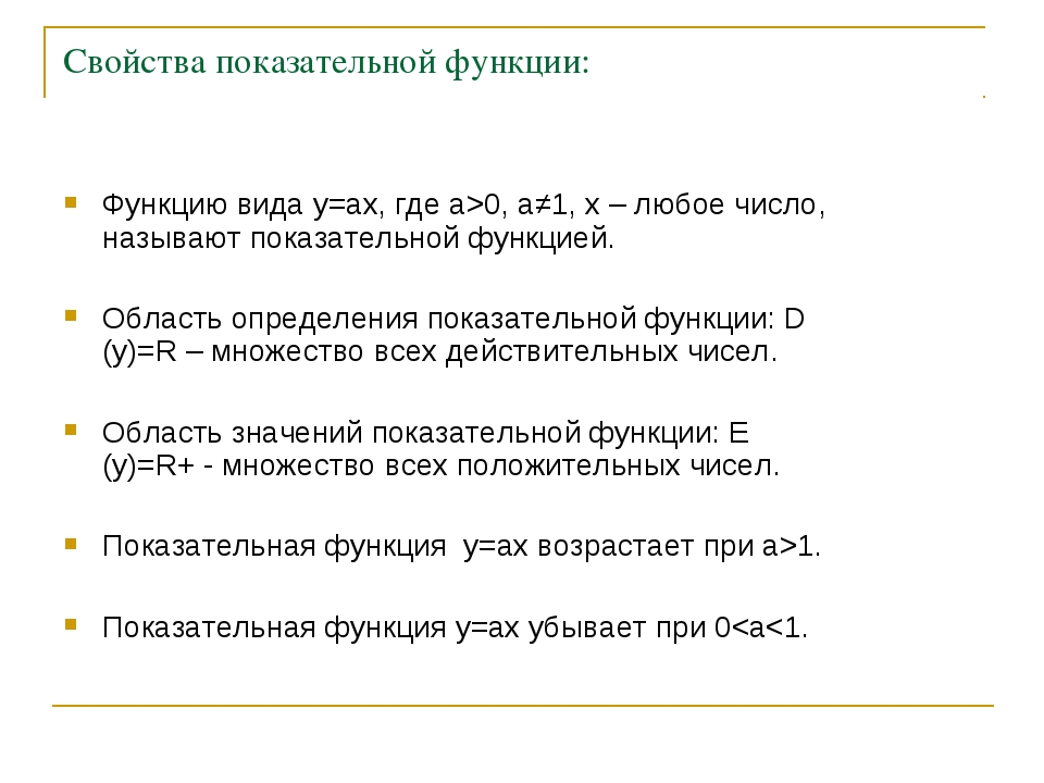Свойства показательной функции: Функцию вида y=ax, где а>0, a≠1, х – любое чи...