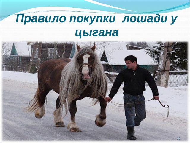Правило покупки лошади у цыгана *