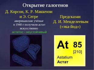 Предсказан Д. И. Менделеевым («эка-йод») Открытие галогенов Д. Корсон, К. Р.