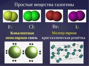 F2 Cl2 Br2 I2 Молекулярная кристаллическая решётка Простые вещества галогены