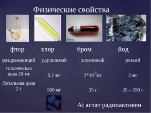 фтор хлор бром йод Физические свойства At астат радиоактивен 3 раздражающийу