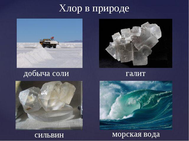 галит сильвин Хлор в природе добыча соли морская вода