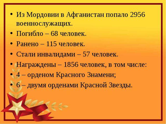 Из Мордовии в Афганистан попало 2956 военнослужащих. Погибло– 68 человек. Р...