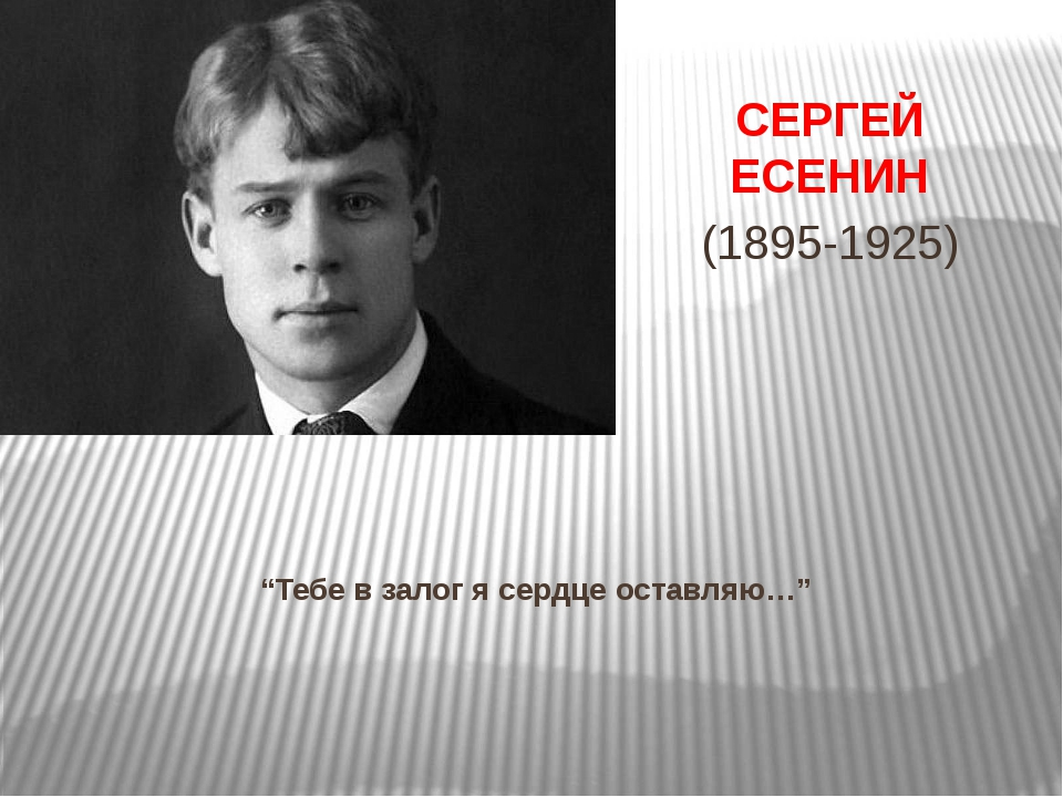 """""""Тебе в залог я сердце оставляю…"""" СЕРГЕЙ ЕСЕНИН (1895-1925)"""