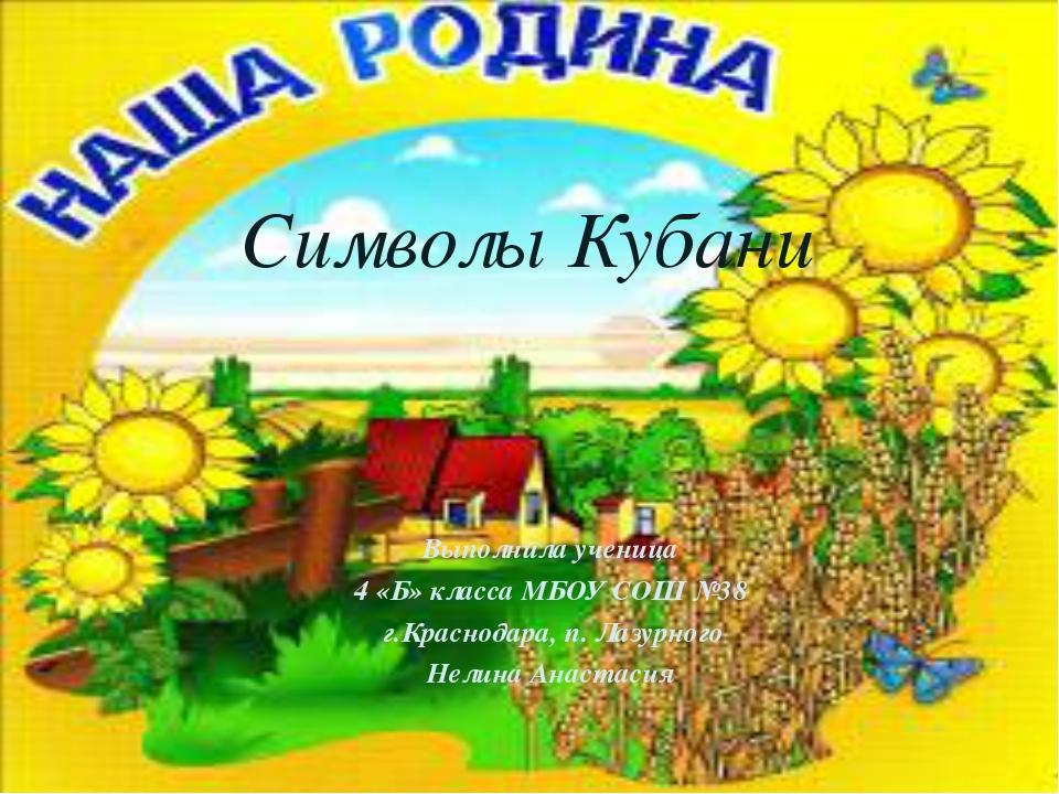 Выполнила ученица 4 «Б» класса МБОУ СОШ №38 г.Краснодара, п. Лазурного Нелин...