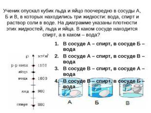 Ученик опускал кубик льда и яйцо поочередно в сосуды А, Б и В, в которых нахо