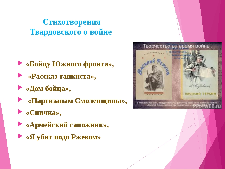 Стихотворения Твардовского о войне «Бойцу Южного фронта», «Рассказ танкиста»...