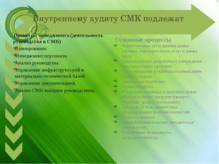Внутреннему аудиту СМК подлежат Процессы менеджмента (деятельность руководств