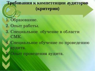 Требования к компетенции аудиторов (критерии) Образование. Опыт работы. Специ