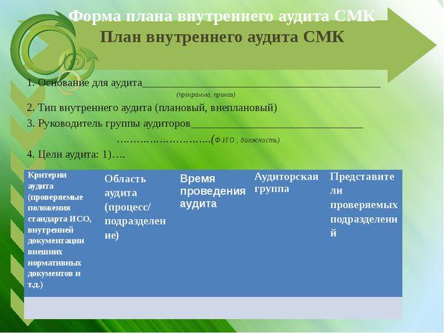 Форма плана внутреннего аудита СМК План внутреннего аудита СМК 1. Основание д...