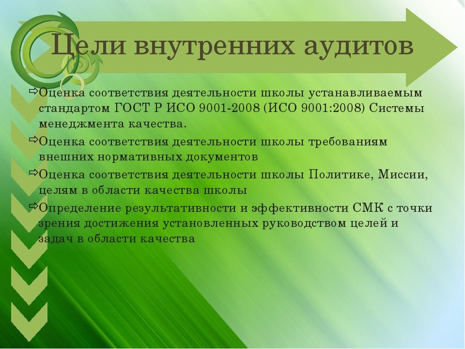 Цели внутренних аудитов Оценка соответствия деятельности школы устанавливаемы...
