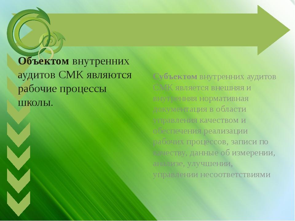 Объектом внутренних аудитов СМК являются рабочие процессы школы. Субъектом в...