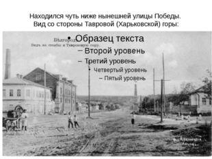Находился чуть ниже нынешней улицы Победы. Вид со стороны Тавровой (Харьковск