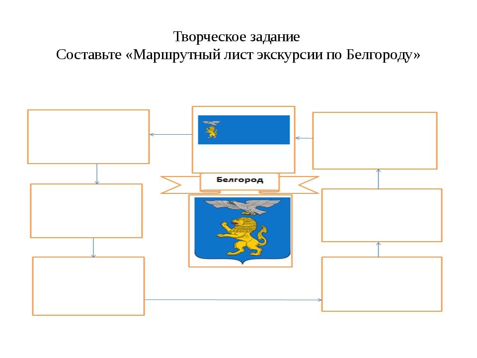 Творческое задание Составьте «Маршрутный лист экскурсии по Белгороду»
