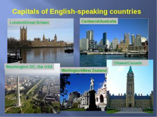 Capitals of English-speaking countries London\Great Britain Canberra\Australi