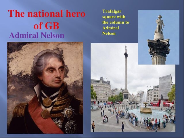 The national hero of GB Admiral Nelson Trafalgar square with the column to Ad...