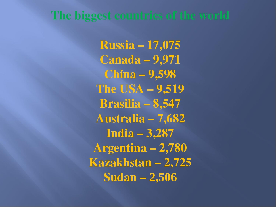 The biggest countries of the world Russia – 17,075 Canada – 9,971 China – 9,5...