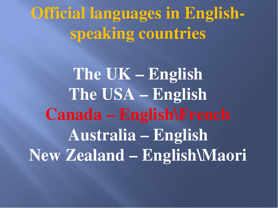 Official languages in English-speaking countries The UK – English The USA – E...