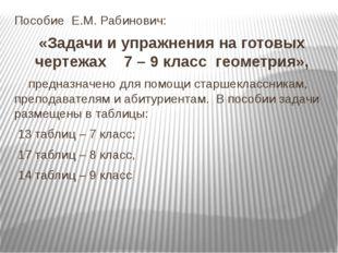 Пособие Е.М. Рабинович: «Задачи и упражнения на готовых чертежах 7 – 9 класс