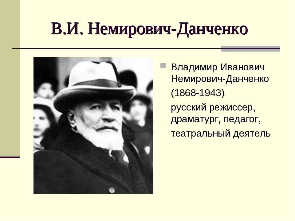 В.И. Немирович-Данченко Владимир Иванович Немирович-Данченко (1868-1943) русс...
