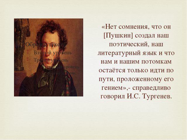 «Нет сомнения, что он [Пушкин] создал наш поэтический, наш литературный язык...