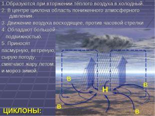 ЦИКЛОНЫ: 1.Образуются при вторжении тёплого воздуха в холодный. 2. В центре