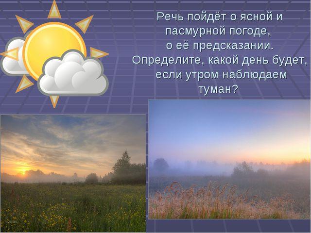 Речь пойдёт о ясной и пасмурной погоде, о её предсказании. Определите, какой...