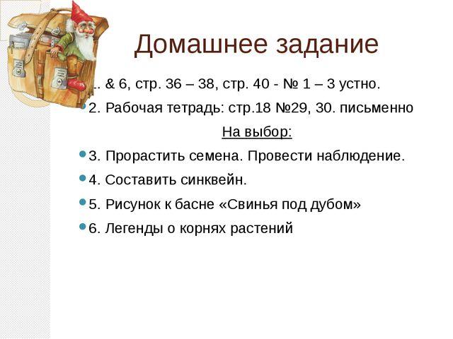 Домашнее задание 1. & 6, стр. 36 – 38, стр. 40 - № 1 – 3 устно. 2. Рабочая те...