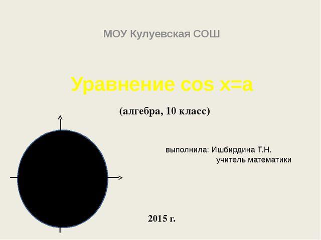 Уравнение cos x=a (алгебра, 10 класс) выполнила: Ишбирдина Т.Н. учитель матем...