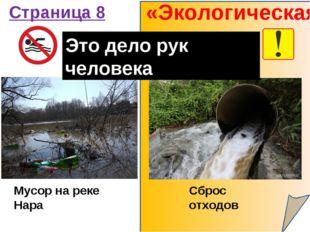 «Экологическая» Страница 8 Мусор на реке Нара Сброс отходов Это дело рук чело