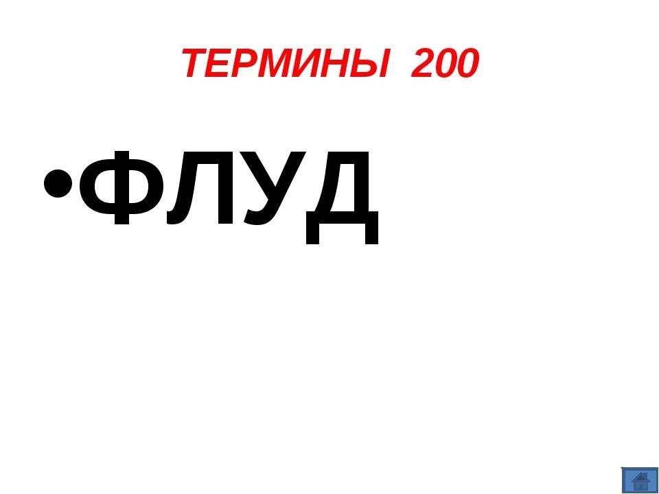 ТЕРМИНЫ 200 ФЛУД