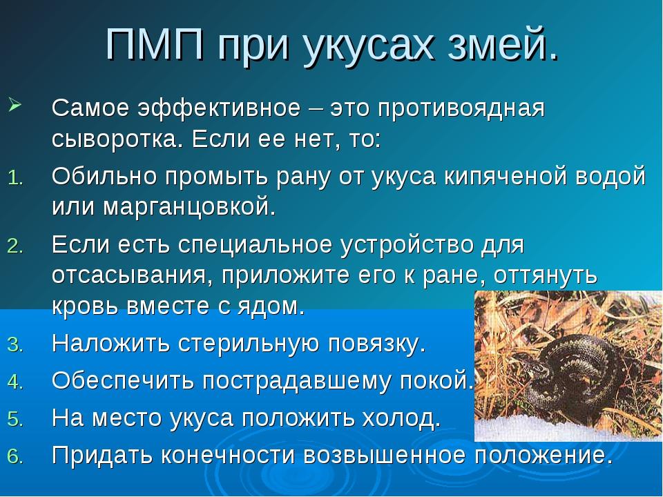 ПМП при укусах змей. Самое эффективное – это противоядная сыворотка. Если ее...