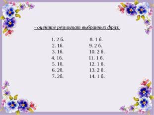 - оцените результат выбранных фраз: 1. 2 б. 8. 1 б. 2. 1б. 9. 2 б. 3. 1б. 10.