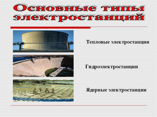 Тепловые электростанции Гидроэлектростанции Ядерные электростанции