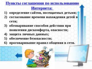 Пункты соглашения по использованию Интернета: определение сайтов, посещаемых