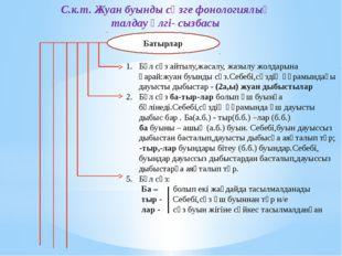 С.к.т. Жуан буынды сөзге фонологиялық талдау үлгі- сызбасы Батырлар Бұл сөз а