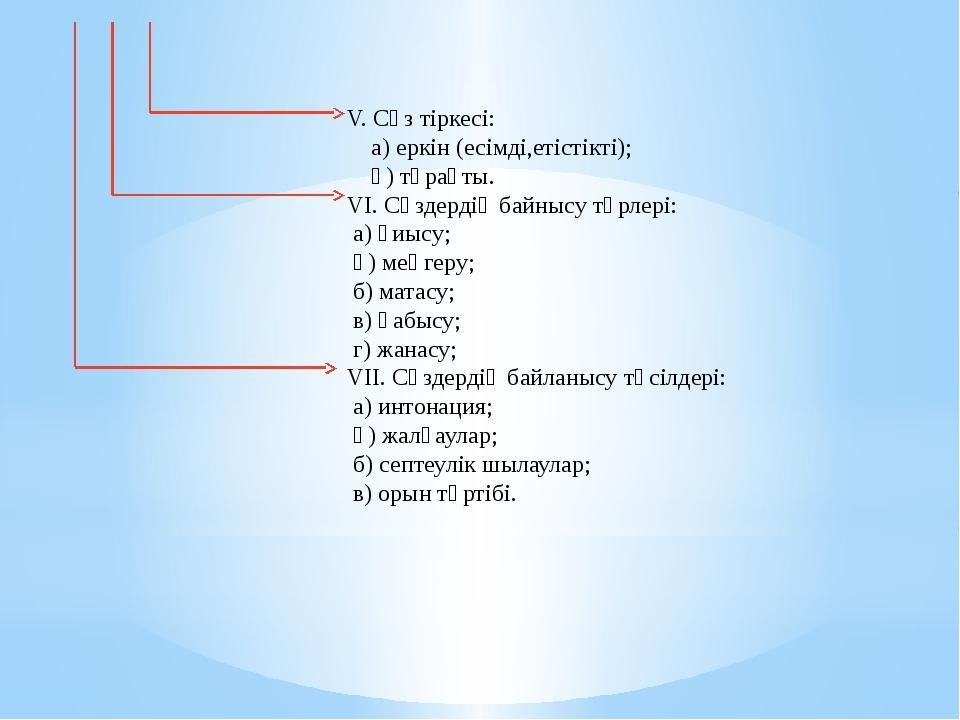 V. Сөз тіркесі: а) еркін (есімді,етістікті); ә) тұрақты. VI. Сөздердің байныс...