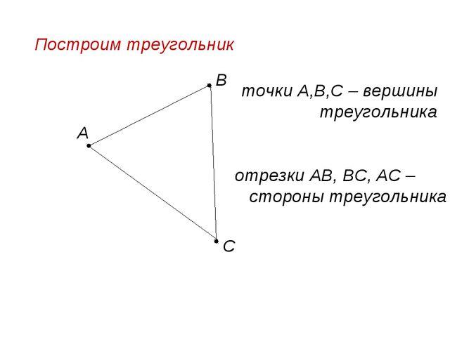 Построим треугольник А В С точки А,В,С – вершины треугольника отрезки АВ, ВС,...