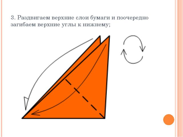 3. Раздвигаем верхние слои бумаги и поочередно загибаем верхние углы к нижнему;