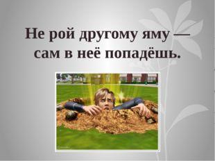 Не рой другому яму — сам в неё попадёшь.