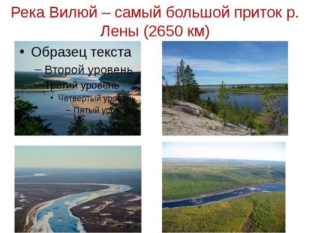 Река Вилюй – самый большой приток р. Лены (2650 км)