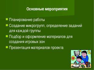 Основные мероприятия Планирование работы Создание микрогрупп, определение зад