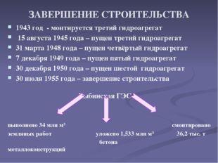 ЗАВЕРШЕНИЕ СТРОИТЕЛЬСТВА 1943 год - монтируется третий гидроагрегат 15 авгус