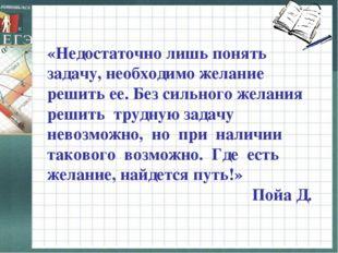 «Недостаточно лишь понять задачу, необходимо желание решить ее. Без сильного