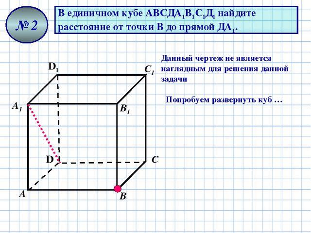 В единичном кубе АВСДА1В1С1Д1 найдите расстояние от точки В до прямой ДА1. №...